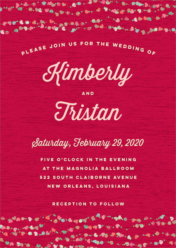 custom invitations - deep red - divine hearts (set of 10)