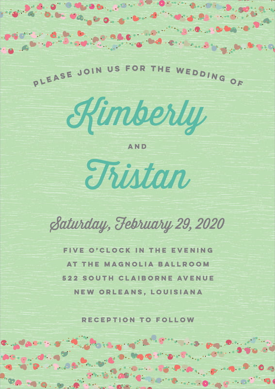 custom invitations - spring green - divine hearts (set of 10)