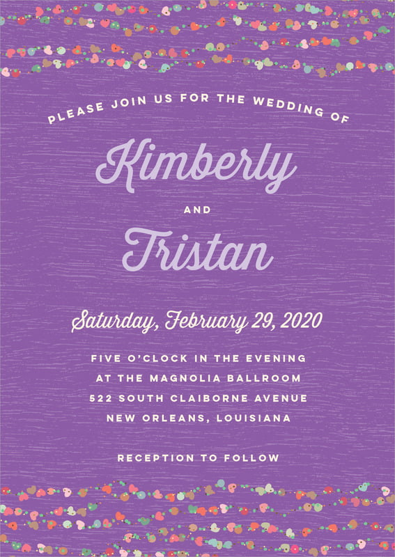 custom invitations - purple - divine hearts (set of 10)