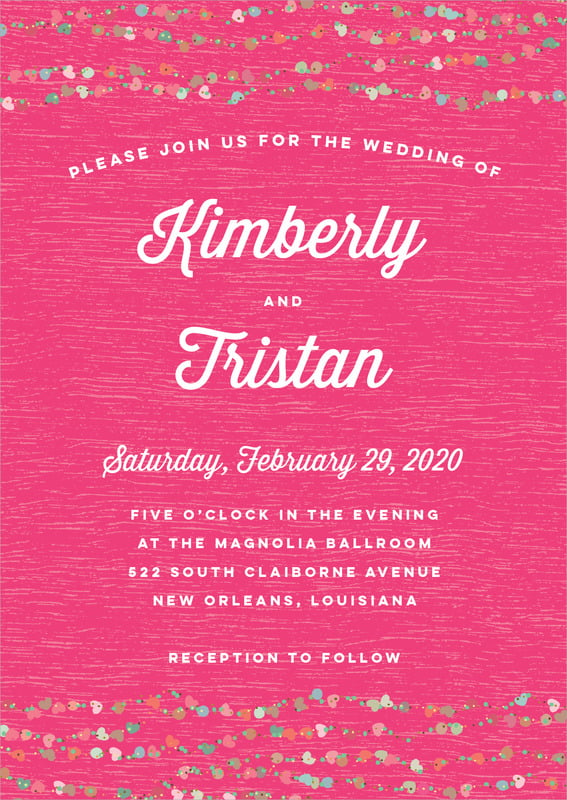 custom invitations - bright pink - divine hearts (set of 10)