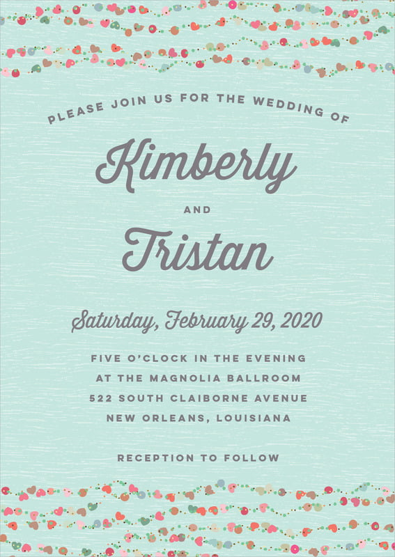 custom invitations - sea glass - divine hearts (set of 10)