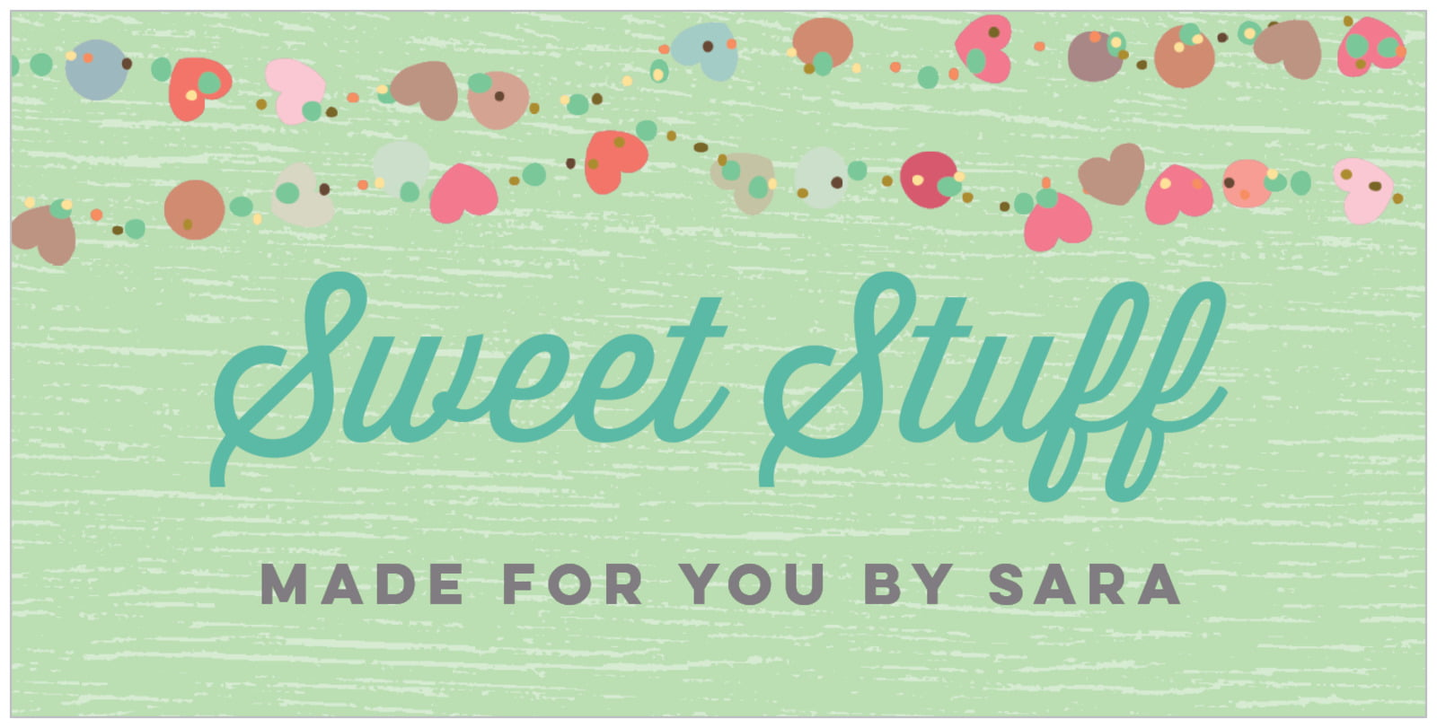 small rectangular food/craft labels - spring green - divine hearts (set of 24)