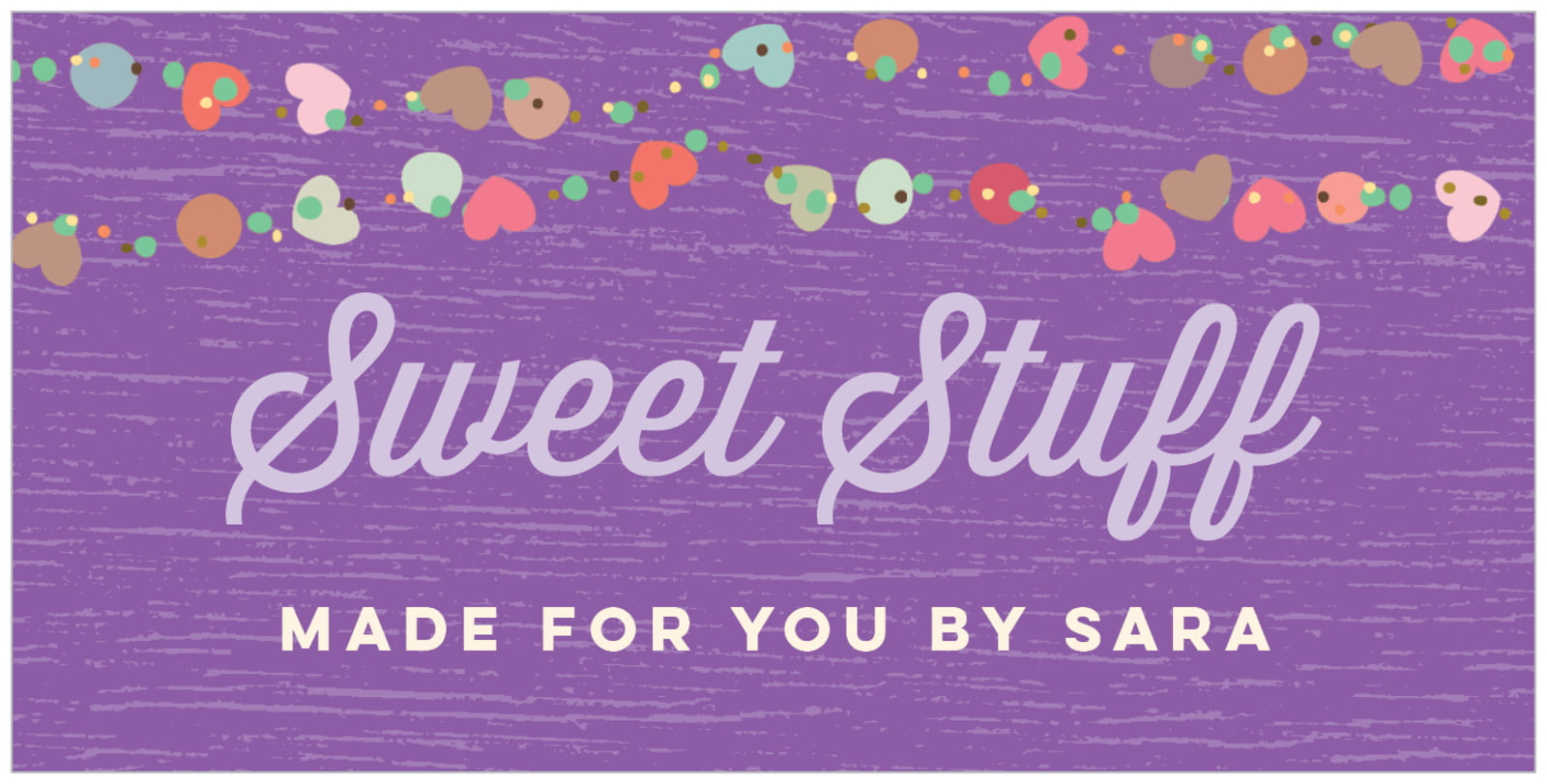 small rectangular food/craft labels - purple - divine hearts (set of 24)