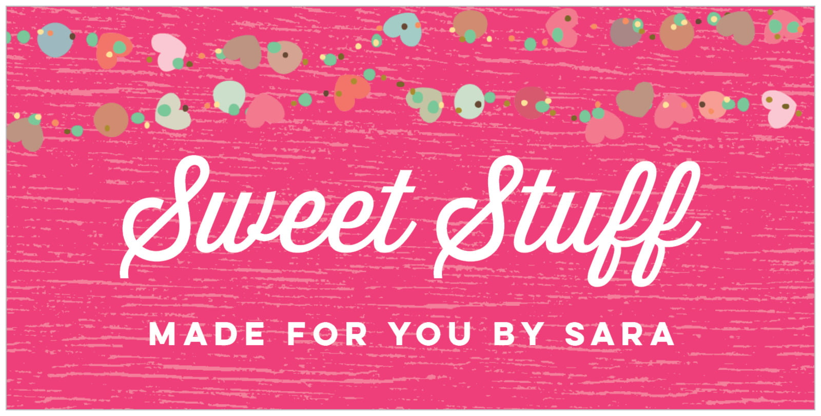 small rectangular food/craft labels - bright pink - divine hearts (set of 24)