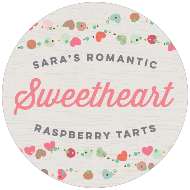 circle food/craft labels - stone - divine hearts (set of 20)