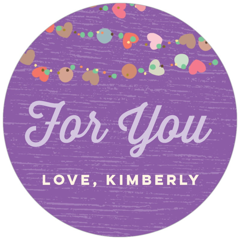 circle food/craft labels - purple - divine hearts (set of 35)