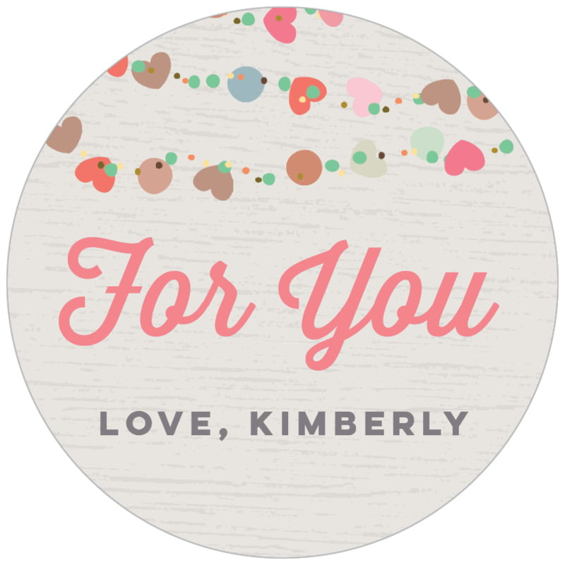 circle food/craft labels - stone - divine hearts (set of 35)
