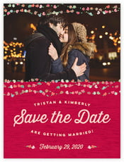 Divine Hearts Save The Date Card In Deep Red