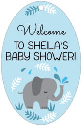 Baby Elephant large oval hang tags
