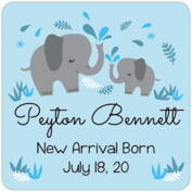Baby Elephant Square Coaster In Sky