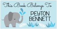 Baby Elephant Small Bookplate In Sky