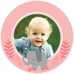 Baby Elephant Circle Photo Label In Grapefruit