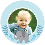 Baby Elephant Circle Photo Label In Sky