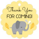 Baby Elephant scallop hang tags