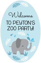 Baby Elephant tall oval labels