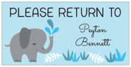 Baby Elephant Rectangle Label In Sky