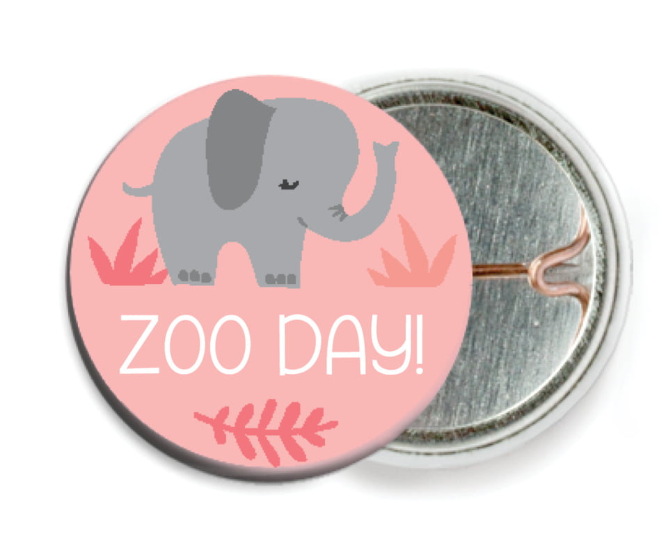 custom pin back buttons - grapefruit - baby elephant (set of 6)