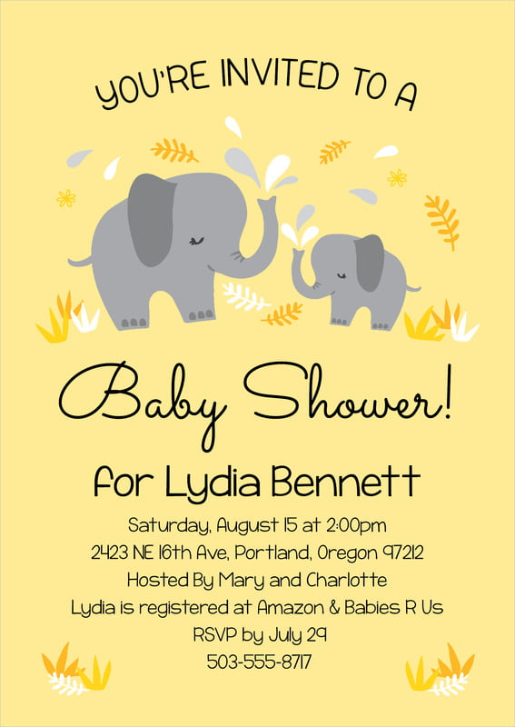baby shower invitations - lemon - baby elephant (set of 10)