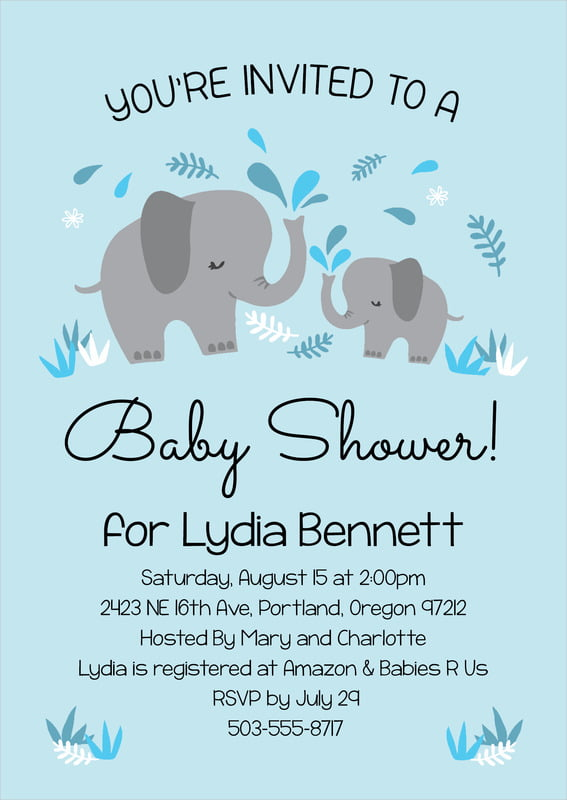 baby shower invitations - sky - baby elephant (set of 10)
