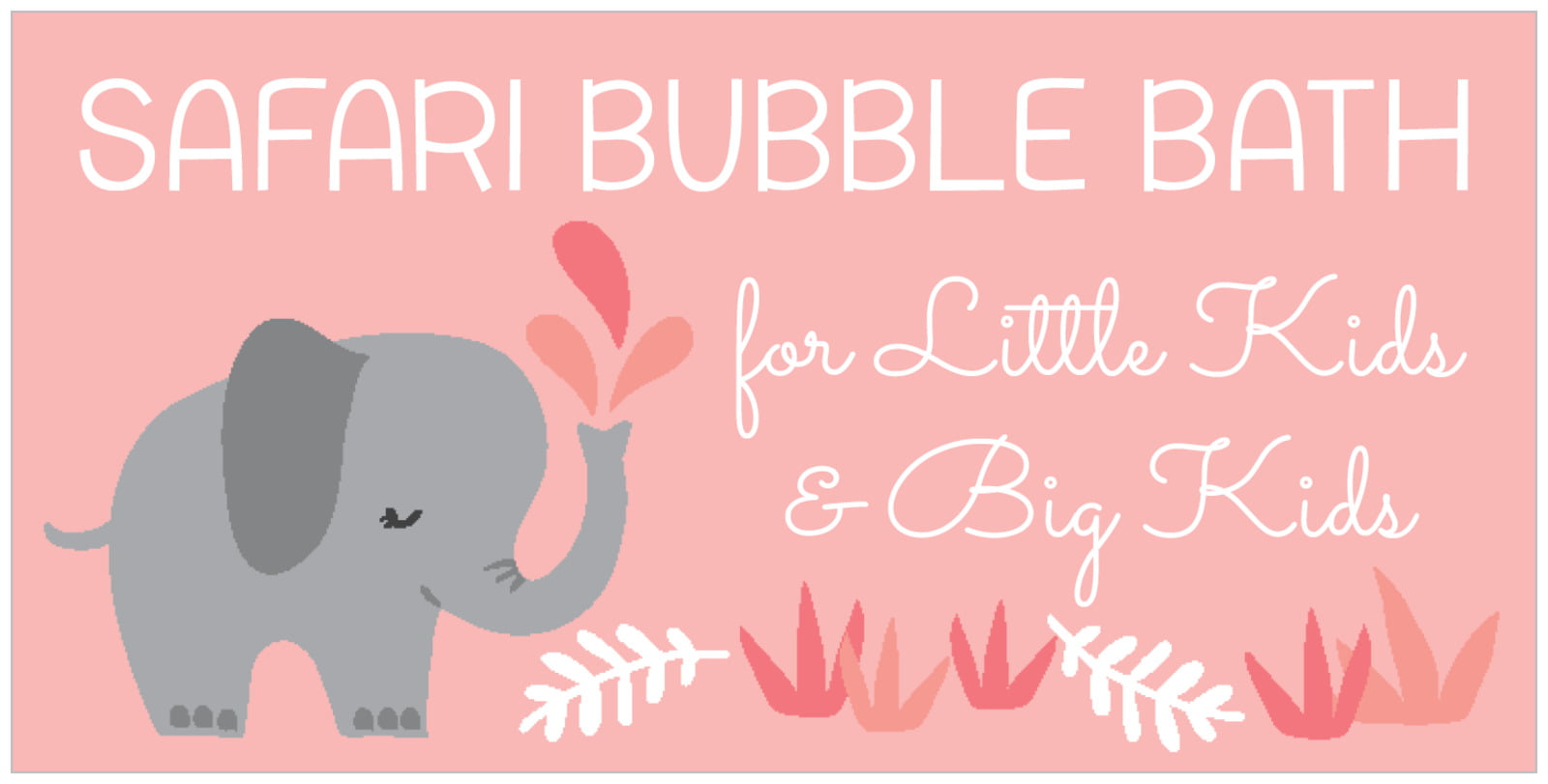 small rectangular food/craft labels - grapefruit - baby elephant (set of 24)