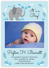 Baby Elephant Card In Sky
