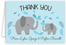 Baby Elephant Folding Card In Sky