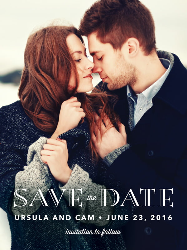 Custom Tall Save The Date Cards - Navy - Elegant Engagement