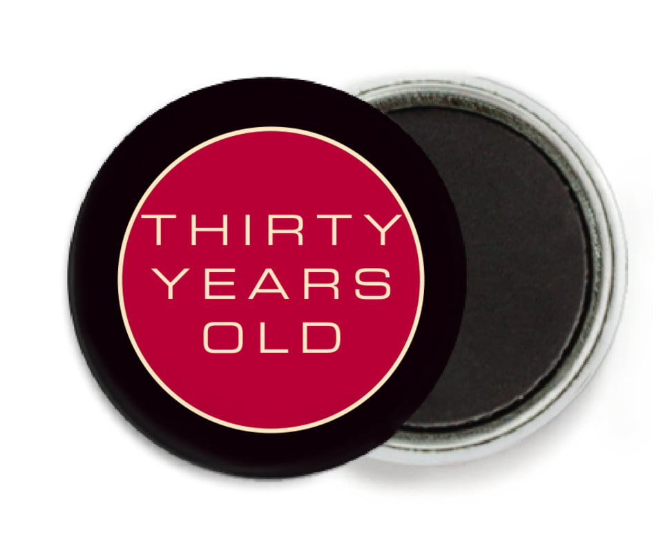 custom button magnets - deep red - fifth avenue (set of 6)