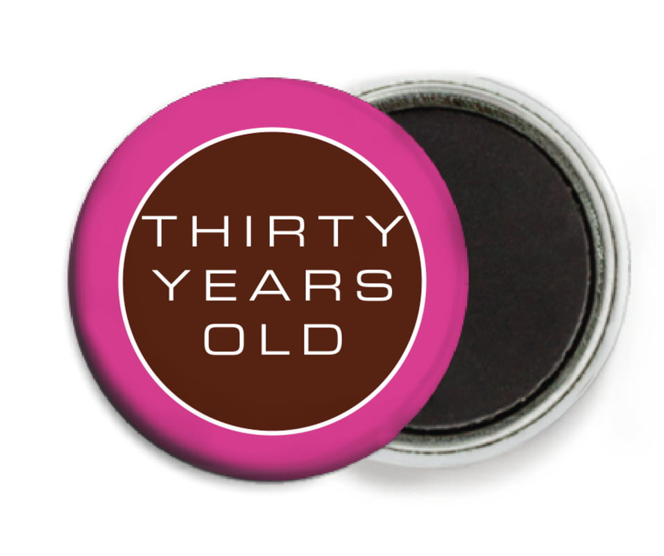 custom button magnets - cocoa & pink - fifth avenue (set of 6)