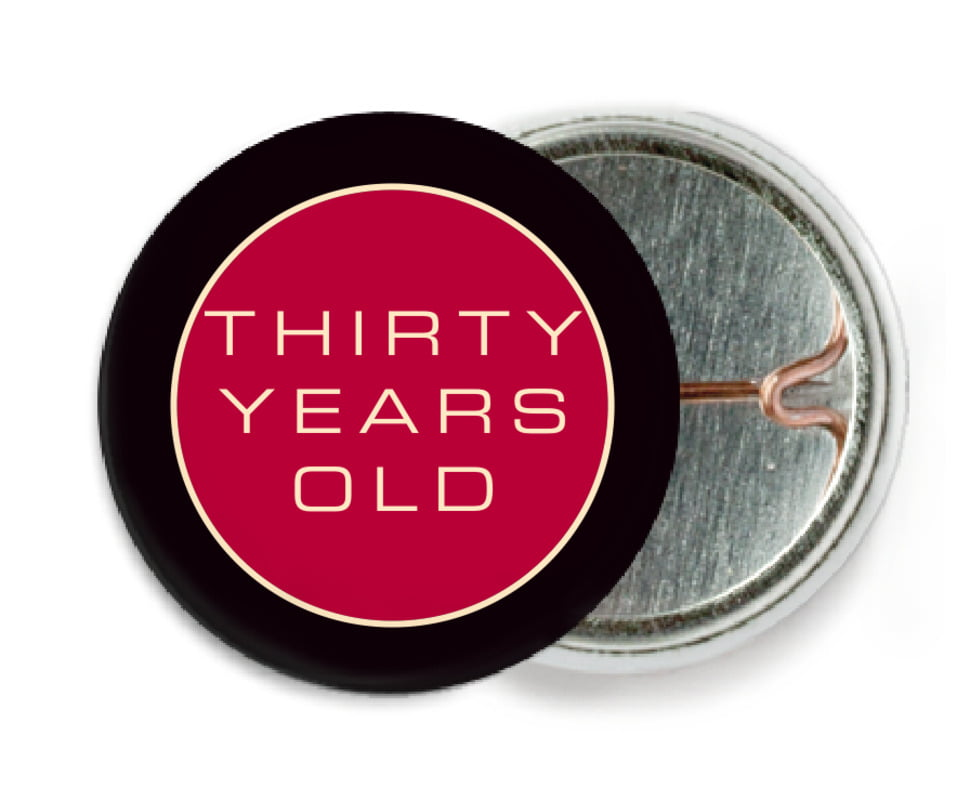 custom pin back buttons - deep red - fifth avenue (set of 6)