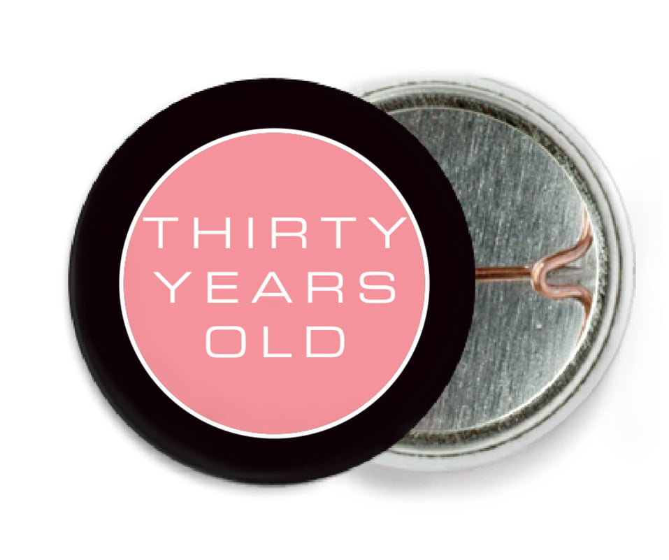 custom pin back buttons - grapefruit - fifth avenue (set of 6)