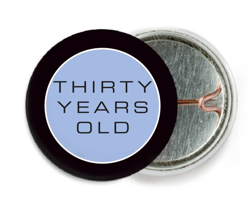 custom pin back buttons - periwinkle - fifth avenue (set of 6)