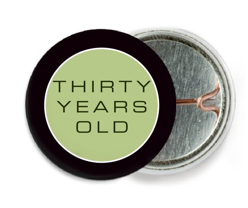 custom pin back buttons - green tea - fifth avenue (set of 6)