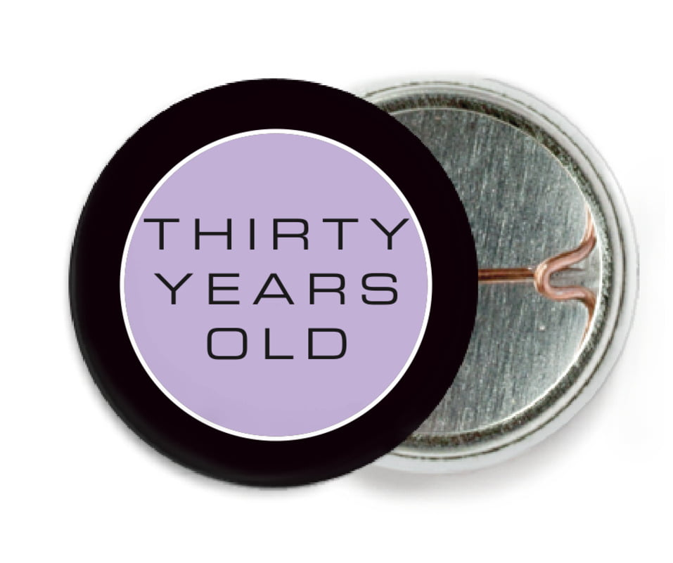 custom pin back buttons - lilac - fifth avenue (set of 6)