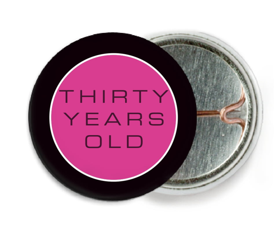 custom pin back buttons - bright pink - fifth avenue (set of 6)