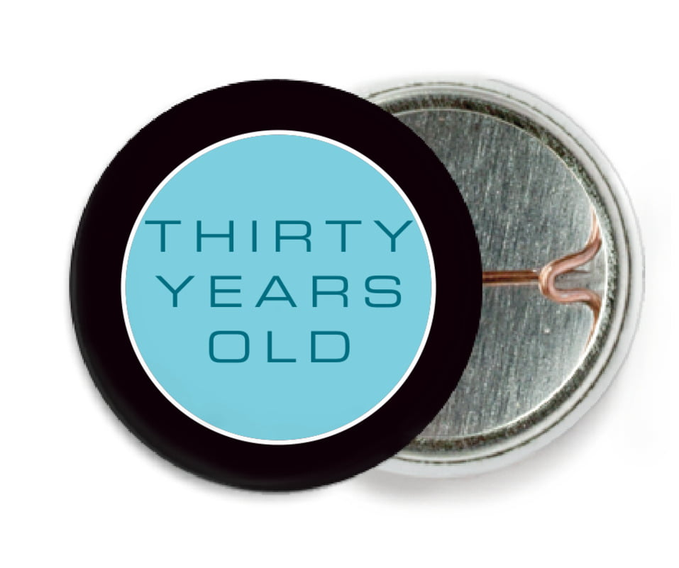 custom pin back buttons - bahama blue - fifth avenue (set of 6)