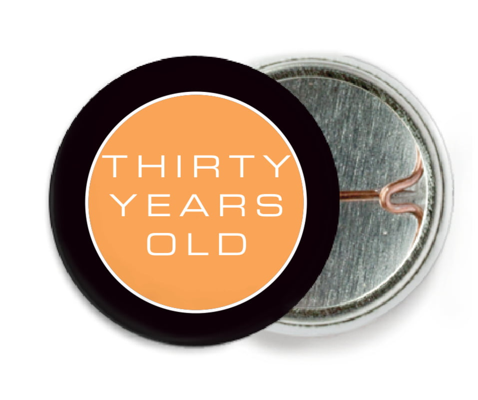 custom pin back buttons - tangerine - fifth avenue (set of 6)