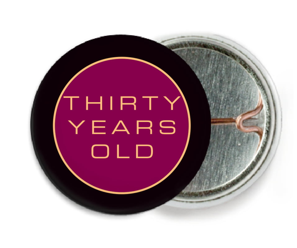 custom pin back buttons - burgundy - fifth avenue (set of 6)