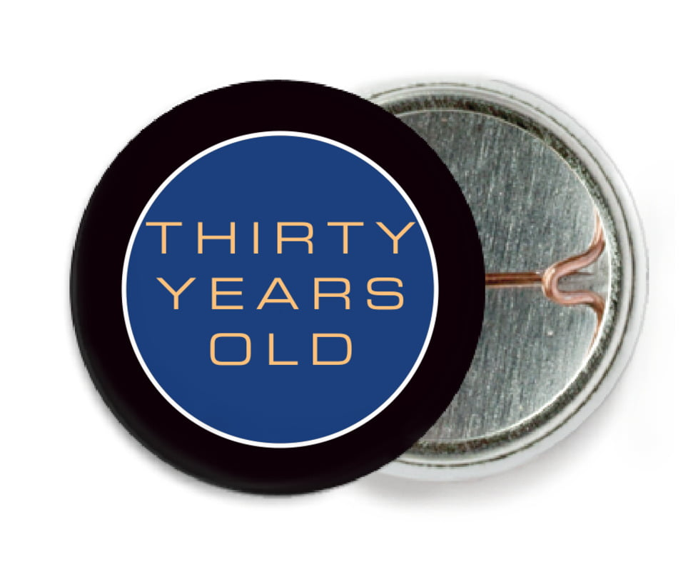 custom pin back buttons - deep blue - fifth avenue (set of 6)