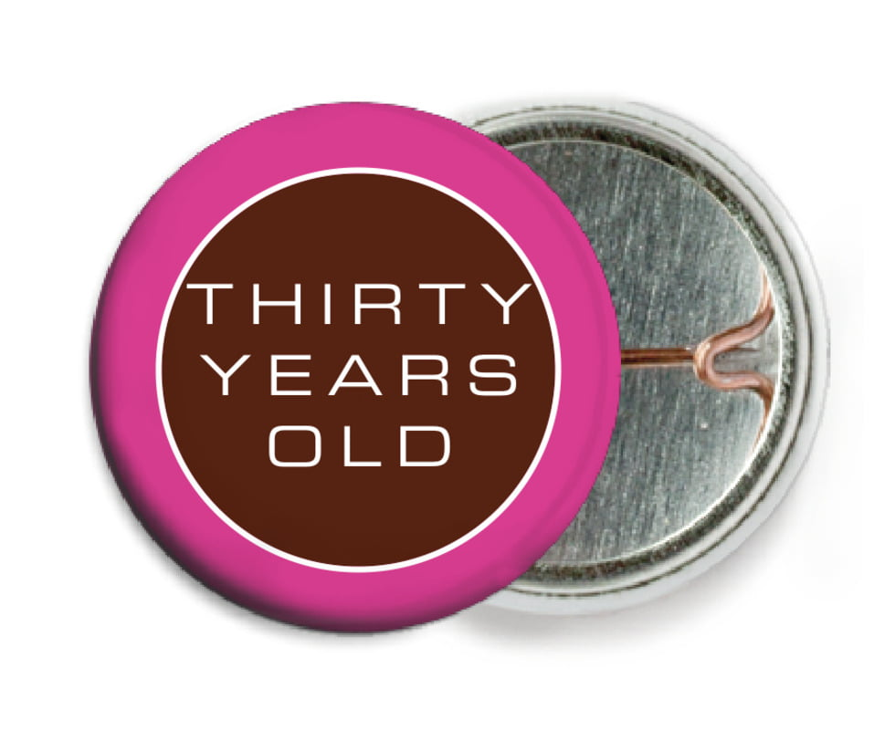 custom pin back buttons - cocoa & pink - fifth avenue (set of 6)