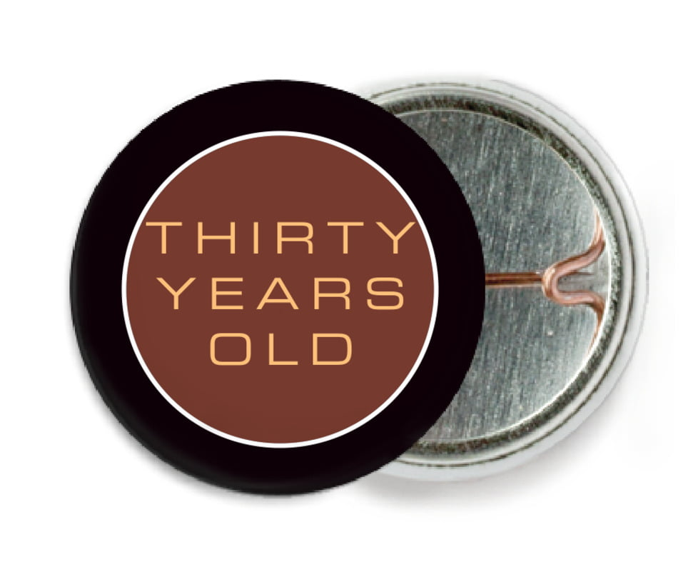 custom pin back buttons - chocolate - fifth avenue (set of 6)
