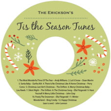 Floral Candycane Cd Label In Green Tea