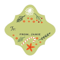 Floral Candycane fancy diamond gift tags