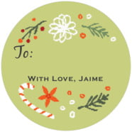 Floral Candycane Large Circle Gift Label In Green Tea