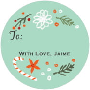 Floral Candycane large circle gift labels
