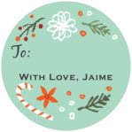 Floral Candycane small circle gift labels