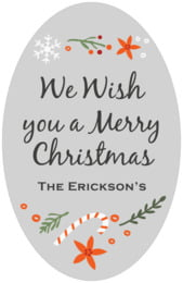 Floral Candycane tall oval labels