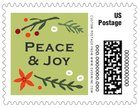 Floral Candycane Small Postage Stamp In Green Tea
