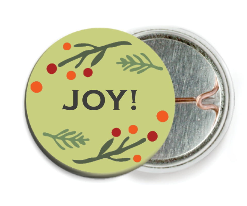 custom pin back buttons - green tea - floral candycane (set of 6)
