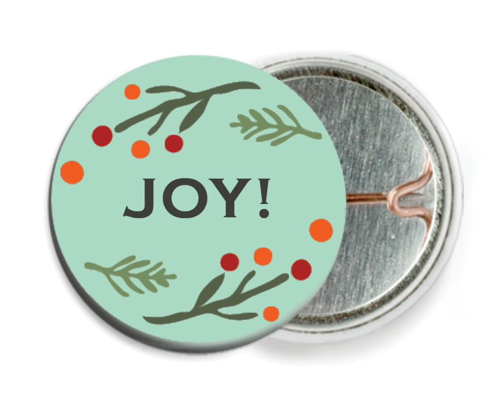 custom pin back buttons - aqua - floral candycane (set of 6)